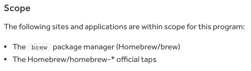 Homebrew program's scope section